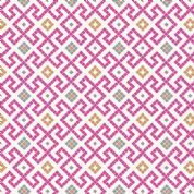 Lewis & Irene - Lindos - 5861 - Tile Inspired Geometric, Pink on White - A267.2 - Cotton Fabric